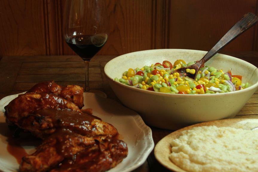 BBQ Chicken BBQ Chicken w_ Grits & Summer Salad