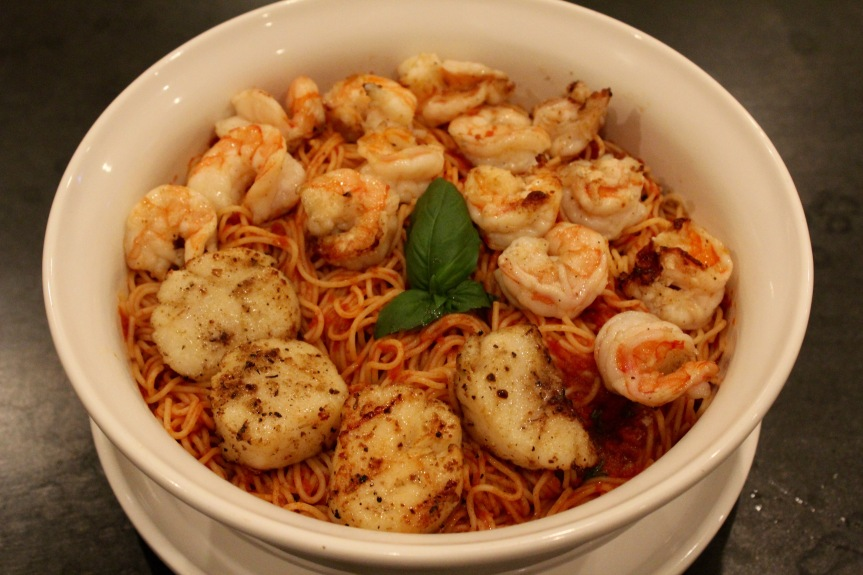 Grilled Shrimp And Scallops With Angel Hair Pasta And Roasted Tomato